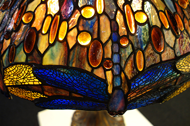Susan E. Frisbee, Detail of Dragonfly Lampshade, stained glass. The design is styled after the work of Louis Comfort Tiffany.