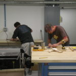 students working in furniture lab