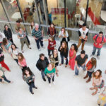 students in lobby of William Johnston Building