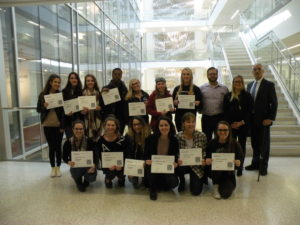 Students from each of the winning teams pictured with Professor Webber and representatives from Interface.