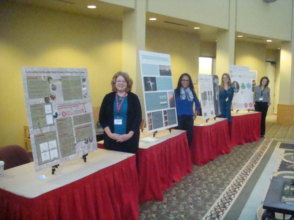 Graduate students Kelley Robinson, Amanda Guerrier, Lauren Trujillo and Heather Dodd present their thesis research at the Interior Design Educators Council regional conference