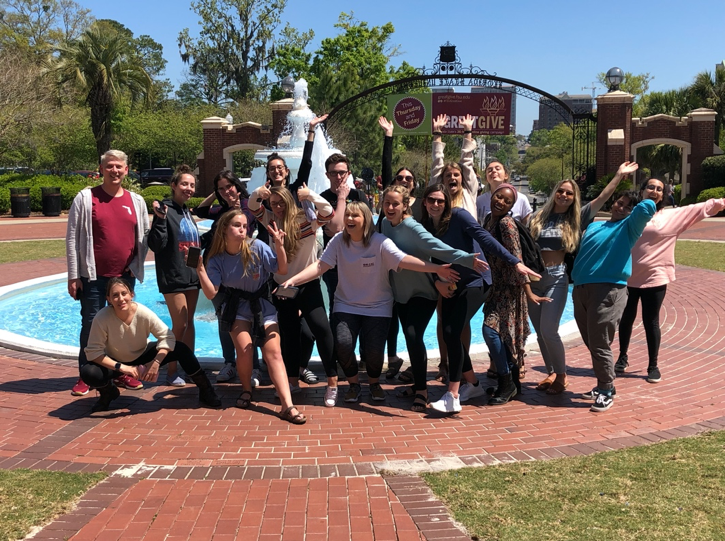 Students at the FSU Westcott Building exploring campus historic architecture.